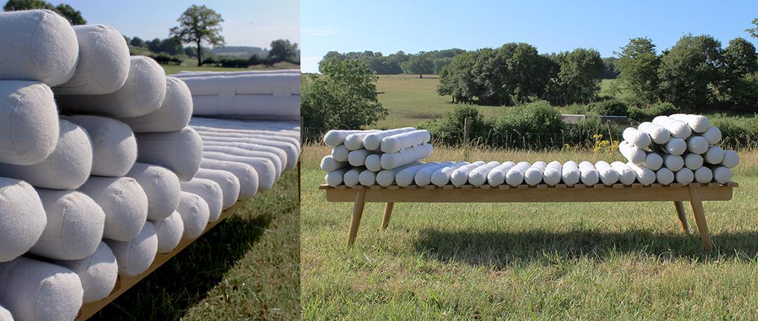Méridienne modulable laine et bois