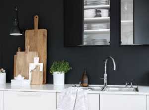 cuisine mur noir
