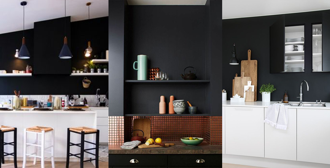 un mur noir dans la cuisine les brindilles. Black Bedroom Furniture Sets. Home Design Ideas